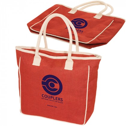 Seville Jute/Canvas Tote - Red