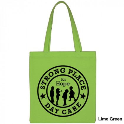 Popular Tote Bag-Low Price-with Imprint - Lime Green