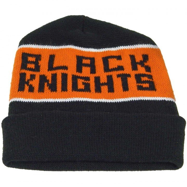 Personalized knit beanie hats with cuffs and knit-in company logos 02540c23b61