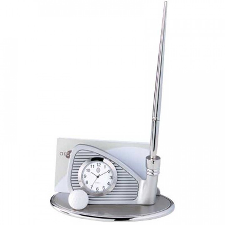 Custom Golf Club Clock and Business Card Holder | Promo Desk Products