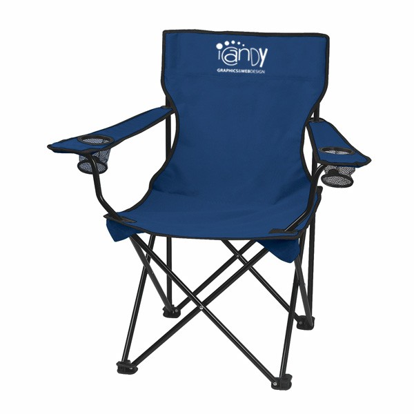 Customizable Promotional Fold Up Chairs   Outdoor Chairs With Business Logo    Navy Blue