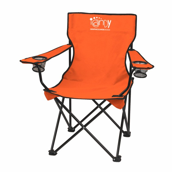 Customizable Promotional Fold Up Chairs   Outdoor Chairs With Business Logo    Orange