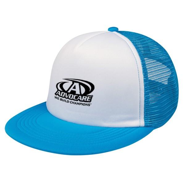 flat bill promotional company logo trucker hat 4allpromos