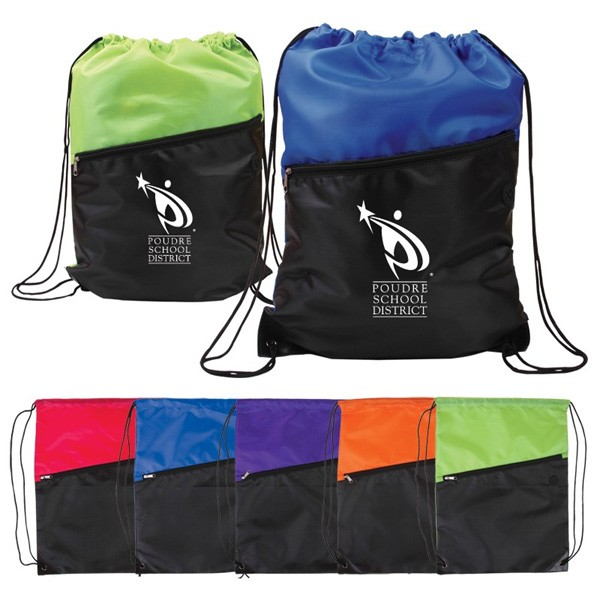 Two-Tone Logo Drawstring Backpack - Zippered Pocket | 4AllPromos