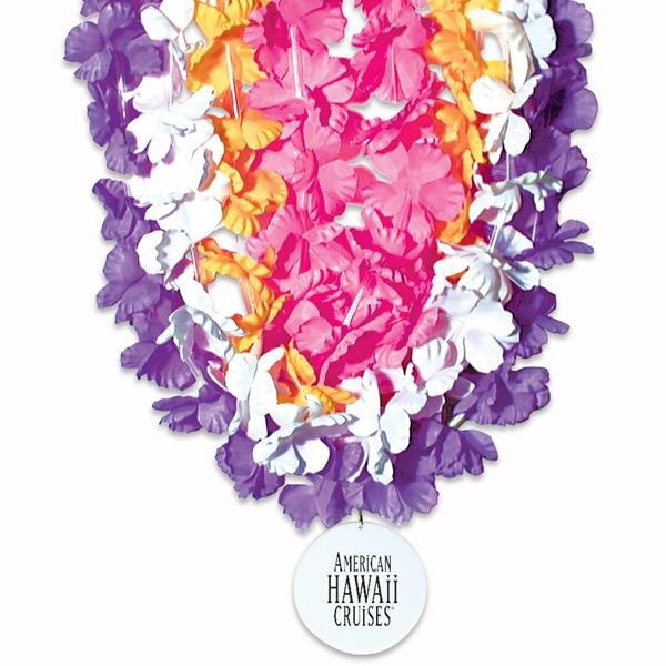 Silk flower leis with imprinted medallion promotional leis wholesale medallion flower leis mightylinksfo