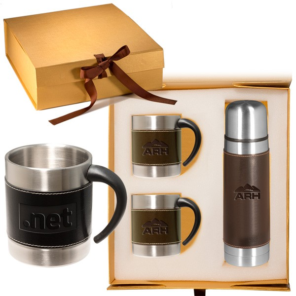 gift leather stainless coffee cup thermos set promo imprinted mugs