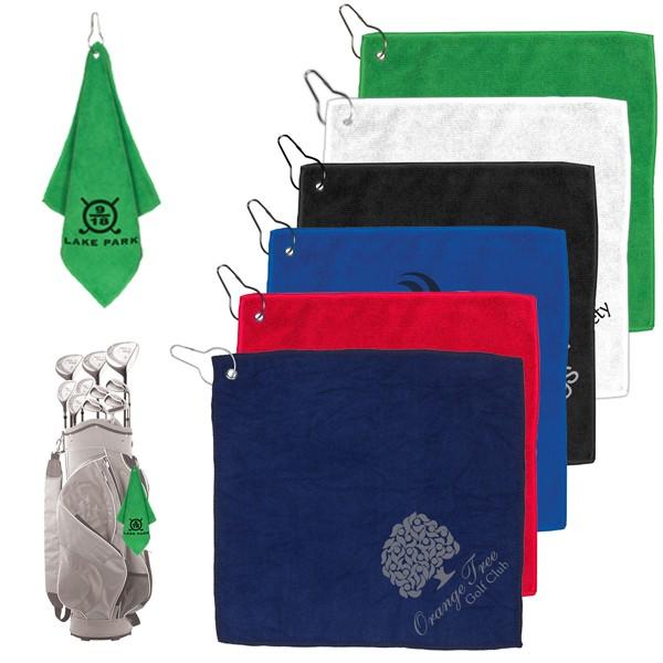 Microfiber Golf Towel - Metal Grommet \u0026 Clip | Promo Golf Towel