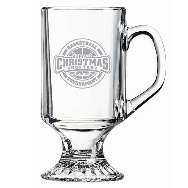 10 oz glass mug with foot custom etched logo promo glass mugs