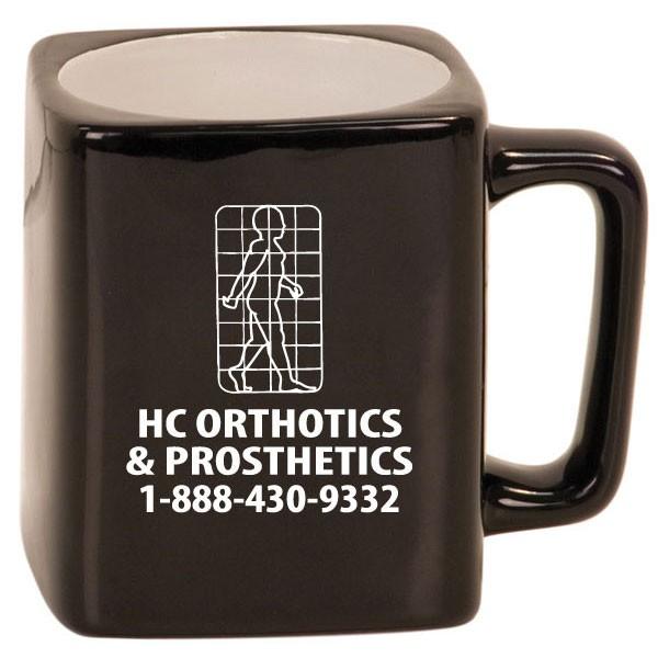 8 oz square ceramic mug with laser engraved logo promotional mugs