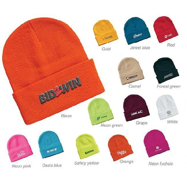 """Sportsman 12"""" Knitted Wholesale Beanies with embroidered logo - Knit toques"""