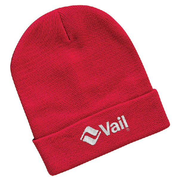 """Sportsman 12"""" Knitted Wholesale Beanies with embroidered logo - Knit toques  - Red"""