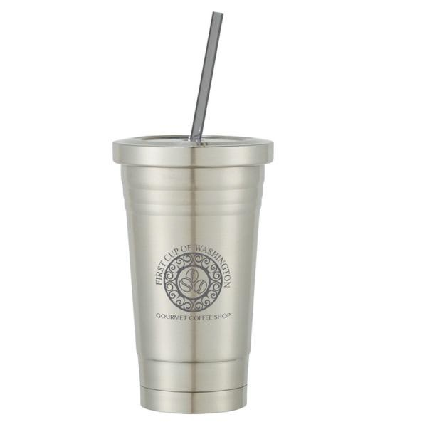 6648e5f0dfd Promotional Stainless Steel Cold Cup with Straw - 16 oz | 4AllPromos