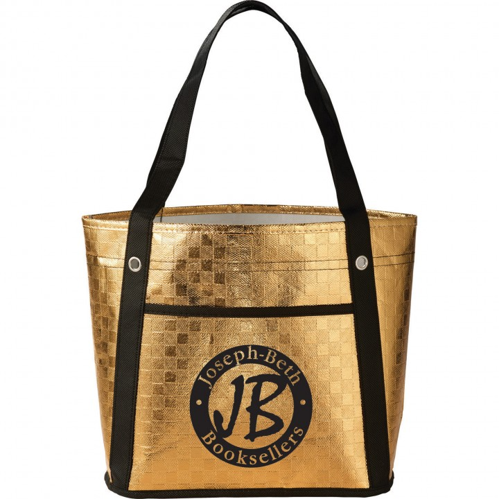 Custom laminated polypropylene tote bags metallic mini for Custom laminations