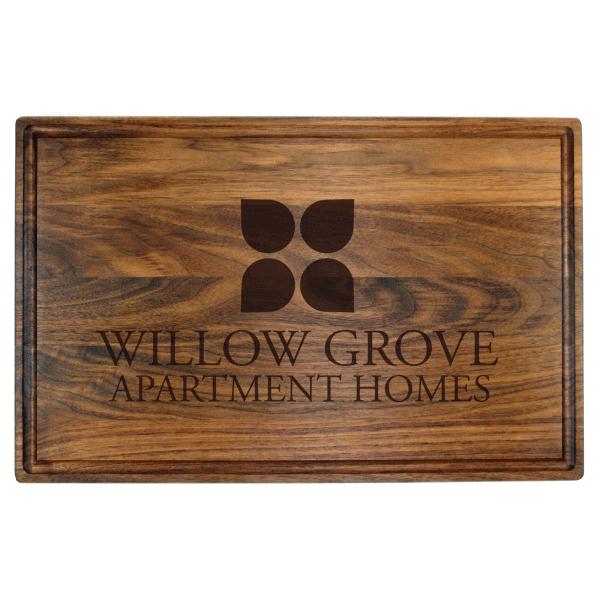 Engraved walnut butcher block cutting board promo