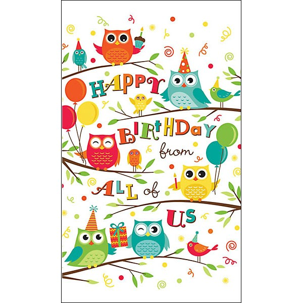 Birthday Owls Greeting Card With Logo Custom Birthday Cards
