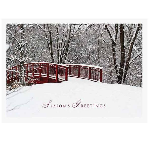 Custom holiday card with snowy bridge business gift cards 4allpromos custom holiday card with snowy bridge business gift cards colourmoves