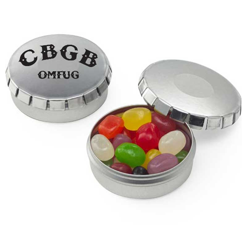 small clic clac tin jelly beans with logo 4allpromos. Black Bedroom Furniture Sets. Home Design Ideas
