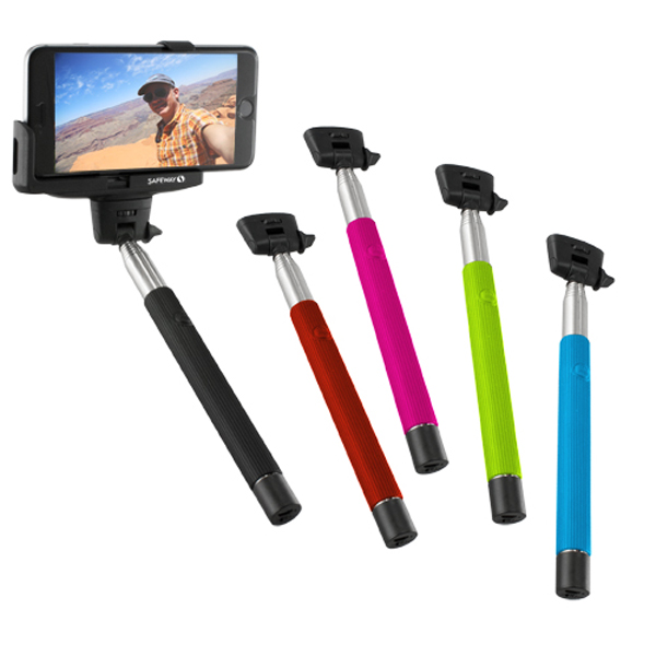 selfie stick with wireless shutter button and logo 4allpromos. Black Bedroom Furniture Sets. Home Design Ideas