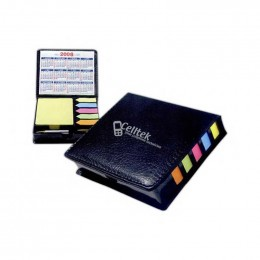 Square Leather Look Case of Sticky Notes with Calendar and Pen