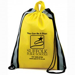 Safety backpack with reflective stripes & logo - recycled promotional products