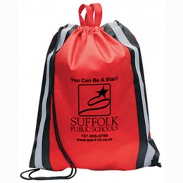 Magellan Drawstring Backpack With Safety Stripes Custom Imprinted With Logo