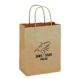 8 x 10 1/2 Twisted Paper Handle Shopping Bag - Natural Custom Imprinted Logo