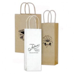 5 1/2 x 13 Wine Bag - White Promotional Custom Imprinted With Logo