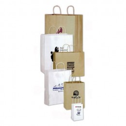 5 x 8 Twisted Paper Handle Shopping Bag - White Custom Imprinted With Logo