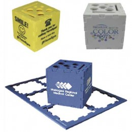 Desktop Organizer Puzzle Cube - 3 in. Promotional Custom Imprinted With Logo