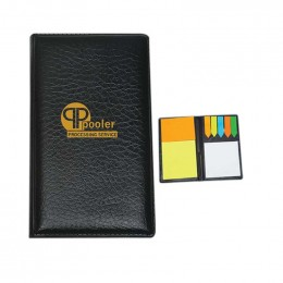 Leather Look Padfolio with Stick Note Pads and Flags Promotional Custom