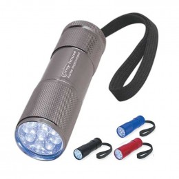 The Stubby Aluminum LED Flashlight with Strap Promotional Custom Imprinted Logo