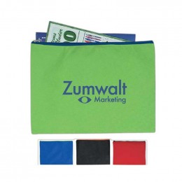 Non Woven Document Sleeve with Zipper Promotional Custom Imprinted With Logo