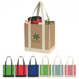 Small Thunder Two-Tone Shopper Tote Bag Promotional Custom Imprinted With Logo