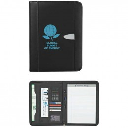 Eclipse Bonded Leather Zippered Portfolio with Calculator Custom Imprinted Logo