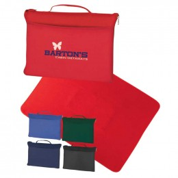 Fleece Travel Blanket Promotional Custom Imprinted With Logo