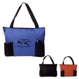 Double Pocket Zippered Tote Bag Promotional Custom Imprinted With Logo