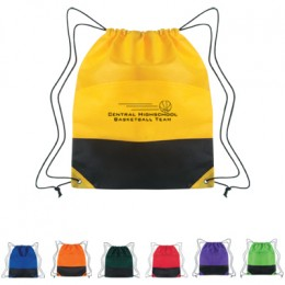 Non-Woven Two Tone Drawstring Sports Pack Promotional Custom Imprinted With Logo