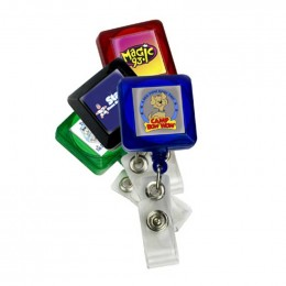 Square Full Color Badge Holder with Slip On Clip
