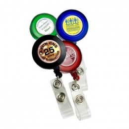 Round Full Color Badge Holder with Slip On Clip