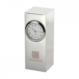 Radiance Silver Plated Column Clock Promotional Custom Imprinted With Logo