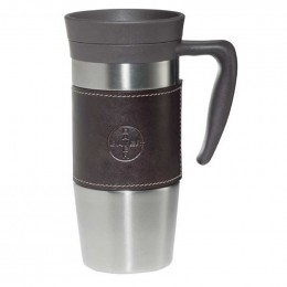 C14 oz Stainless steel custom branded travel mugs with debossed faux leather