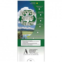 Pocket Slider: Recycle, Reuse, Renew Promotional Custom Imprinted With Logo