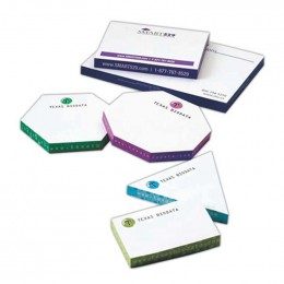 "Thin Sticky Note Hexagon Pads - 4"" x 3"" Promotional Custom Imprinted With Logo"