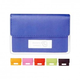 Colorplay Leather Business Card Case Promotional Custom Imprinted With Logo