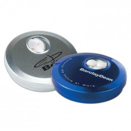 Circle Spin Tin with Mini Mints Promotional Custom Imprinted With Logo