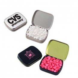 Small Hinged Tin with Mini Mints Promotional Custom Imprinted With Logo