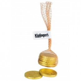 Gold Coins in Mesh Bag Promotional Custom Imprinted With Logo