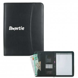Leather Look Zippered Portfolio w/Calculator Promotional Custom Imprinted