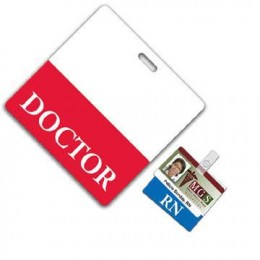 Horizontal Hospital ID Badge w/slot Promotional Custom Imprinted With Logo