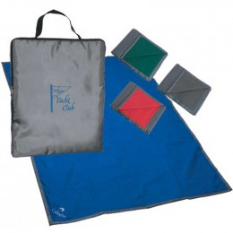 Custom Imprinted Reversible Fleece/Nylon Blanket with Carry Case - Silk Screen